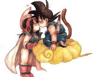 Beso de Milk y Goku