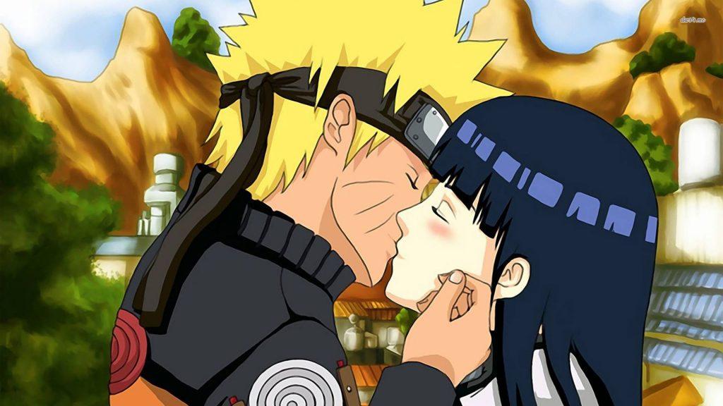 Naruto y Hinata enamorados besamdose
