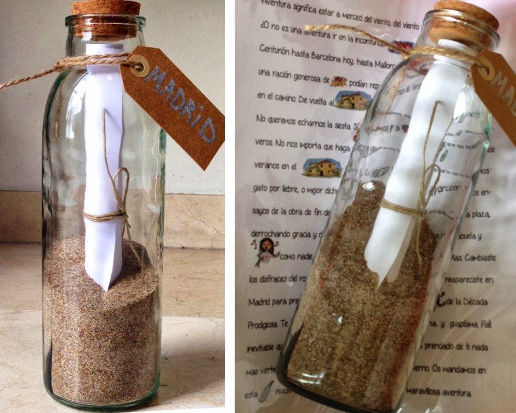 Mensaje romántico en una botella