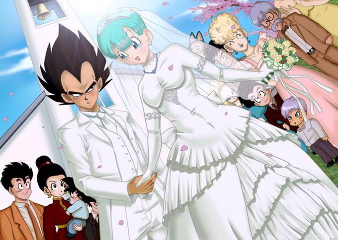 Vegeta y Bulma casandose en su boda