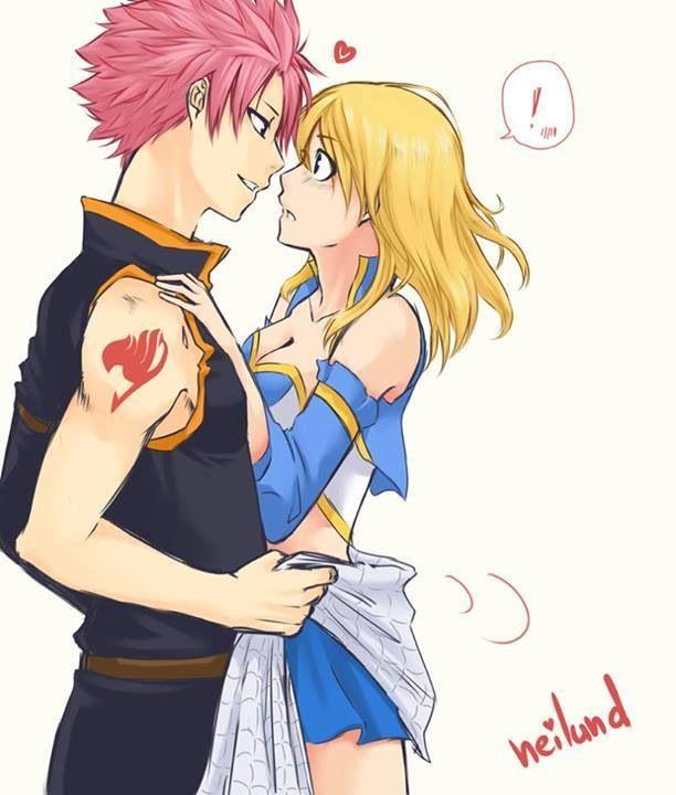 natsu y lucy besandose